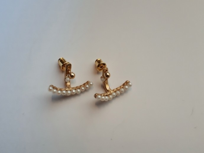Sandwich earring with Fresh water pearl